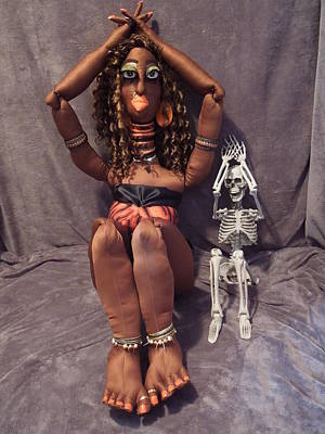 Mixed Media - Jungle Beauty Goddess Chalbi And Skeleton by Cassandra George Sturges
