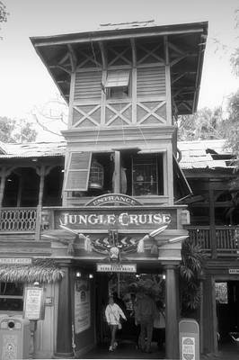 Bobsled Photograph - Jungle Cruise Adventureland Disneyland Bw by Thomas Woolworth