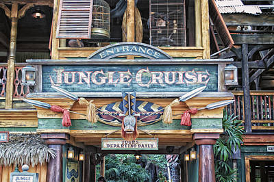 Bobsled Photograph - Jungle Cruise Signage Adventureland Disneyland by Thomas Woolworth