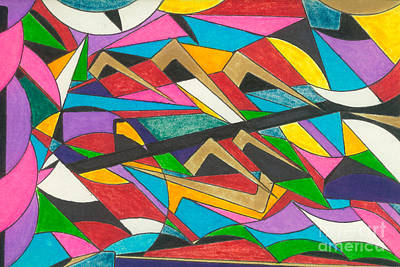Abstract Shapes Drawing - Jungle Dancing by Luke Nelson