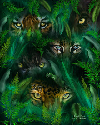 Mixed Media - Jungle Eyes by Carol Cavalaris