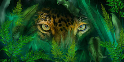 Mixed Media - Jungle Eyes - Jaguar by Carol Cavalaris