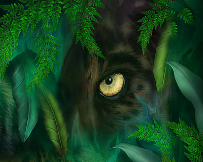Mixed Media - Jungle Eyes - Panther by Carol Cavalaris