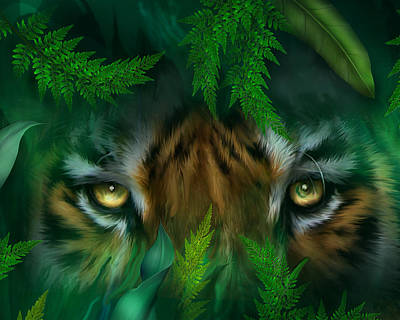 Mixed Media - Jungle Eyes - Tiger by Carol Cavalaris