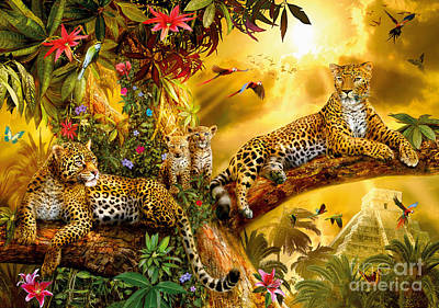Aztec Digital Art - Jungle Jaguars by Jan Patrik Krasny