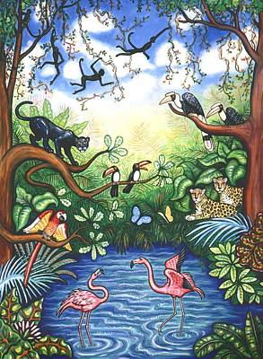 Black Bird Painting - Jungle One by Linda Mears