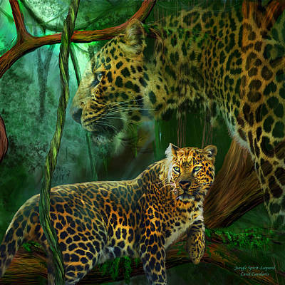 Jaguar Art Mixed Media - Jungle Spirit - Leopard by Carol Cavalaris