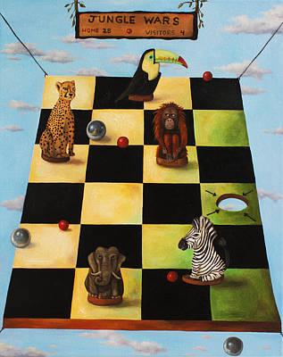 Zebra Painting - Jungle Wars Edit 2 by Leah Saulnier The Painting Maniac