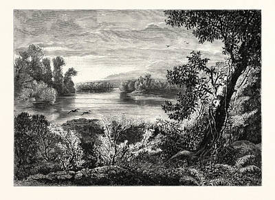Juniata River, Near Lewistown Print by John Augustus Hows (1832-1874), American
