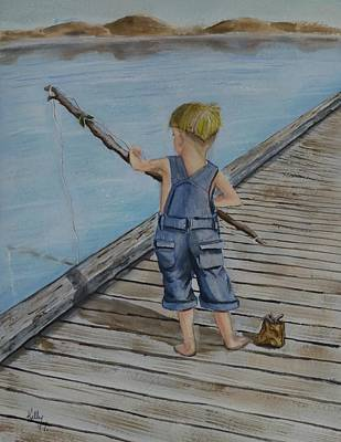 Juniors Amazing Fishing Pole Art Print by Kelly Mills