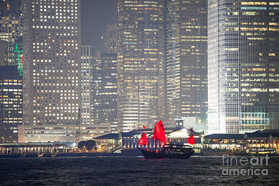 Hong Kong Photograph - Junk Boat Sailing In Hong Kong by Matteo Colombo