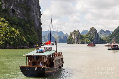 Junk Boat Photograph - Junk On Halong Bay by Fototrav Print