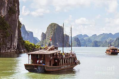 Junk Boat Wall Art - Photograph - Junk On Halong Bay Vietnam by Fototrav Print