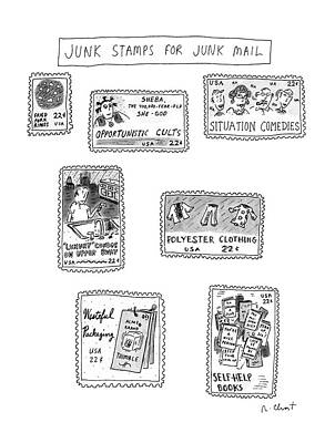 Junk Food Drawing - Junk Stamps For Junk Mail by Roz Chast