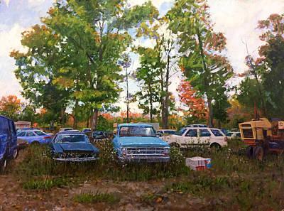 Old Ford Truck Wall Art - Painting - Junk Yard by Edward Thomas