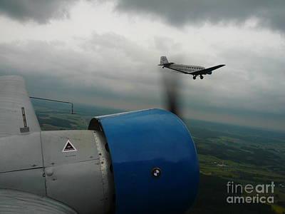 Junkers Ju-52 Flight Under Dark Clouds Art Print by Joachim Kraus
