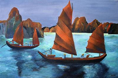 Print featuring the painting Junks In The Descending Dragon Bay by Tracey Harrington-Simpson