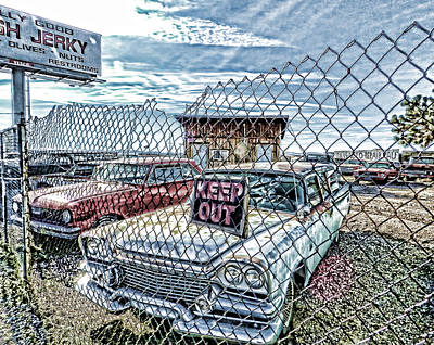 Keep Out Digital Art - Junkyard Blues 1 by Cathy Anderson