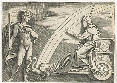 Bos Bos Drawing - Juno And Aeolus, Cornelis Bos, Marcantonio Raimondi by Cornelis Bos And Marcantonio Raimondi