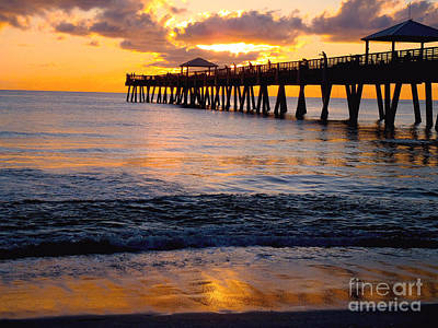 Birds Rights Managed Images - Juno Beach pier Royalty-Free Image by Carey Chen