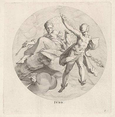 Hermes Wall Art - Drawing - Juno, Egbert Van Panderen, Bartholomeus Spranger by Egbert Van Panderen And Bartholomeus Spranger And Frederik De Wit