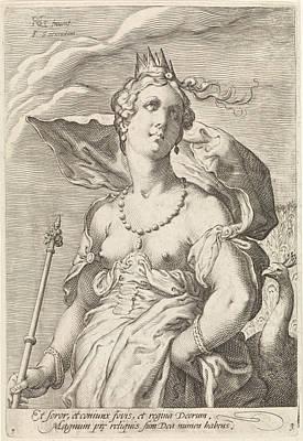 Hera Drawing - Juno, Jan Saenredam, Cornelius Schonaeus by Jan Saenredam And Cornelius Schonaeus And Claes Jansz. Visscher (ii)