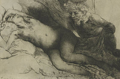 Satyr Drawing - Jupiter And Antiope by Rembrandt