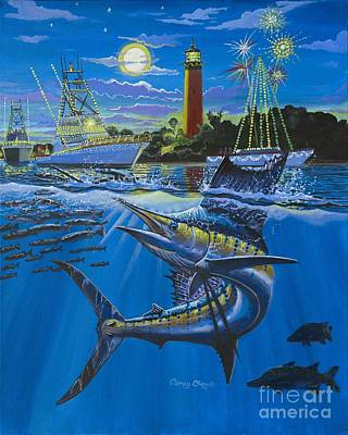 Fireworks Painting - Jupiter Boat Parade by Carey Chen