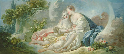 Guise Photograph - Jupiter Disguised As Diana Tries To Seduce Callisto, C.1753 Oil On Canvas by Jean-Honore Fragonard