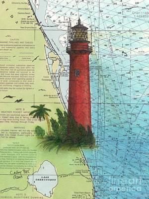 East Coast Lighthouse Painting - Jupiter Inlet Lighthouse Fl Nautical Chart Map Art Cathy Peek by Cathy Peek