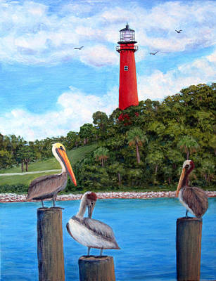 Painting - Jupiter Inlet Pelicans by Fran Brooks
