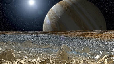 Photograph - Jupiter Seen From The Surface Of Europa by Science Source