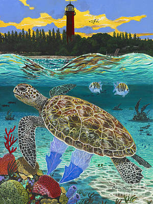 Green Sea Turtle Painting - Jupiter Turtle by Carey Chen