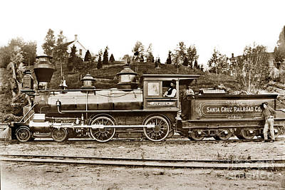 Photograph - Jupiter Was A Wood Burning Locomotive Owned By The Santa Cruz Railroad 1878 by California Views Archives Mr Pat Hathaway Archives