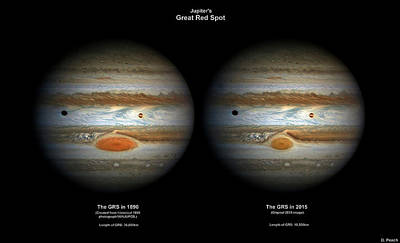 1890 Photograph - Jupiter's Great Red Spot In 1890 And 2015 by Damian Peach