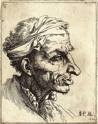 Grotesque Drawing - Jusepe De Ribera Spanish, 1591-1652, Small Grotesque Head by Litz Collection