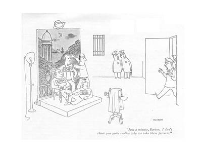 Law Enforcement Drawing - Just A Minute by Saul Steinberg