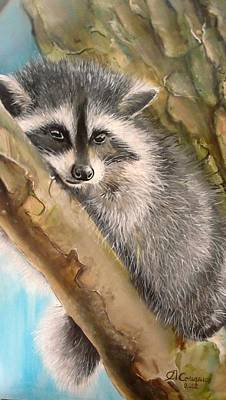 Painting - Just A Raccoon by Sergey Selivanov