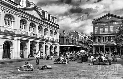 Just Another Day At Jackson Square Mono Art Print by John Rizzuto
