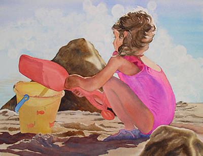Little Girl On Beach Painting - Just Another Day In Paradise by Mary Louise Ringers
