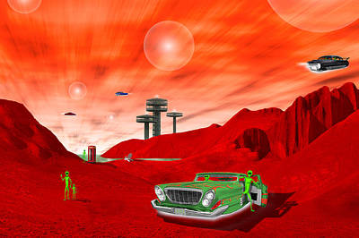 Fantasy Digital Art - Just Another Day on the Red Planet 2 by Mike McGlothlen