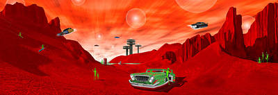 Surrealism Royalty Free Images - Just Another Day on the Red Planet Panoramic Royalty-Free Image by Mike McGlothlen