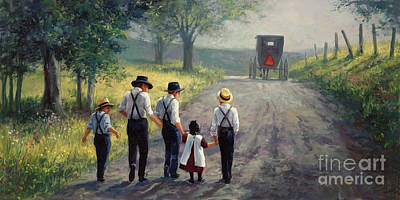 Father Painting - Just Around The Bend by Laurie Hein