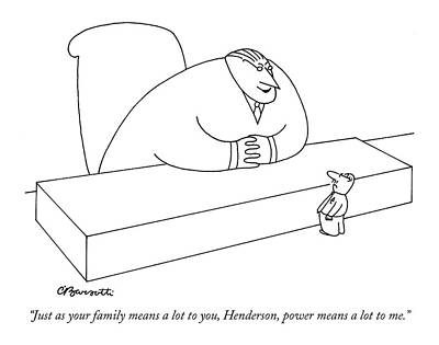 Hierarchy Drawing - Just As Your Family Means A Lot by Charles Barsotti