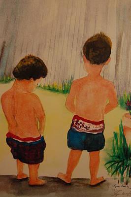 Two Little Boys Painting - Just Boys Being Boys by Lynn Beazley Blair