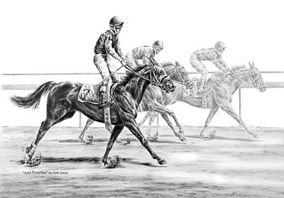 Drawing - Just Finished - Horse Racing Print by Kelli Swan