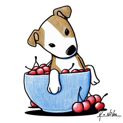Pitbull Drawing - Cherry Bowl Pit by Kim Niles