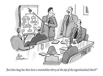 Boardroom Drawing - Just How  Long Has There Been A Maraschino Cherry by Leo Cullum