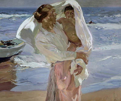 Painting - Just Out Of The Sea by Joaquin Sorolla y Bastida