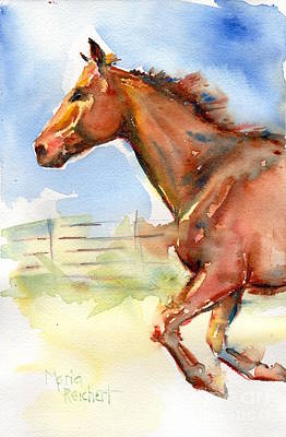 Sorrel Horse Painting - Horse Running Just Passing Through by Maria's Watercolor